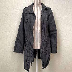 Xhilaration Pinstriped Waterproof Jacket Black S